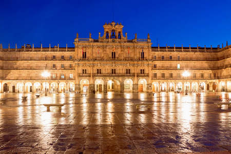 plaza: Plaza Mayor at night, Salamanca, Spain Stock Photo