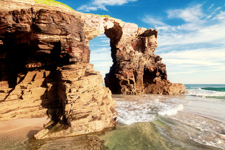 galicia: Beach of cathedrals, Galicia, Spain Stock Photo