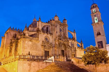 jerez de la frontera: Cathedral in evening time. Jerez de la Frontera, Spain
