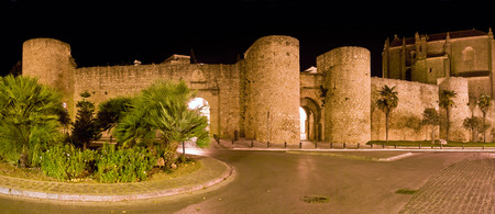 evening church: Evening view of citywall and Church of Holy Spirit. Ronda, Spain