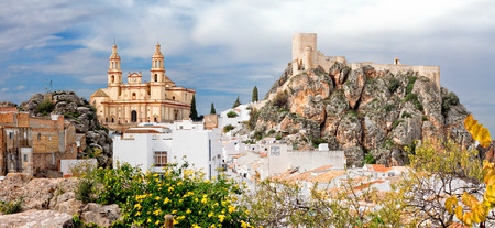 incarnation: Parish of Our Lady of Incarnation and fort in Olvera. Province of Cadiz, Spain Stock Photo