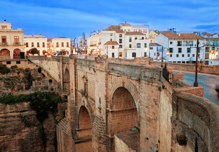 ronda: old bridge in town of Ronda in Andalusia, Spain Stock Photo