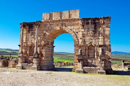 Roman ruins in Volubilis, Meknes Tafilalet, Morocco Stock Photo