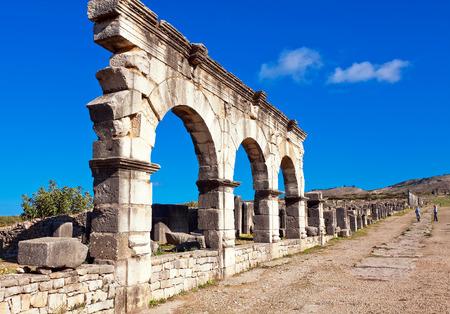 volubilis: Roman ruins in Volubilis, Meknes Tafilalet, Morocco Stock Photo