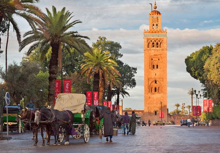 coachman: MARRAKECH, MOROCCO - NOVEMBER 30: Cab drivers in horse-drawn carriages around Koutoubia mosque awaiting tourists in Marrakech, Morocco, November 30, 2014. Marrakech popular place among tourists.