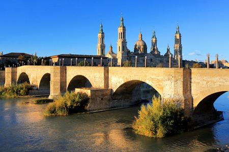 zaragoza: Cathedral and Ebro river in Zaragoza. Aragon, Spain