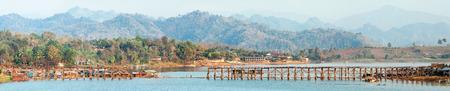 sangkhla buri: old wooden bridge Mon in Sangkhla Buri, province Kanchanaburi, Thailand
