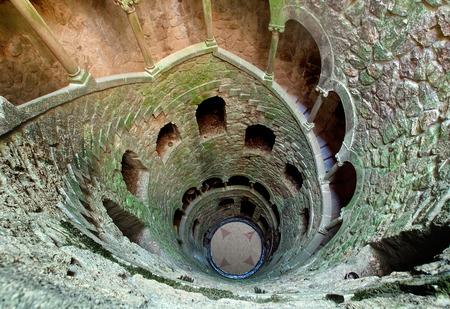 stair well: Masonic initiation well in Quinta da Regaleira, Sintra, Portugal