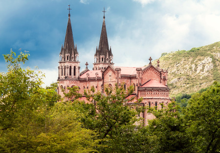santa maria: Basilica of Santa Maria, Covadonga, Asturias, Spain Stock Photo