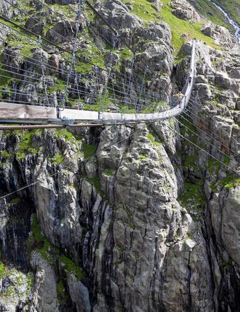 Trift Bridge, pedestrian-only suspension bridge in Alps. Canton of Berne. Svitzerland