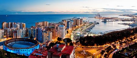 Sea port and residental area in Malaga, Spain