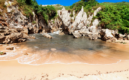 beach Gulpiyuri, Asturias, Spain