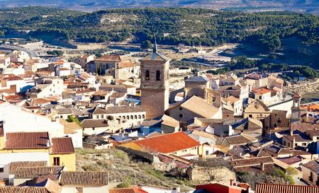 Belltower in spanish town. Chinchilla de Monte-Aragon, Albacete, Spain