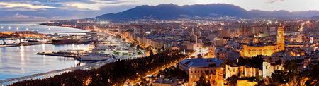 View over Malaga at evening Andalusia Spain Standard-Bild