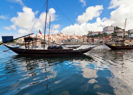 Rabelo boats in Porto, Portugal Standard-Bild