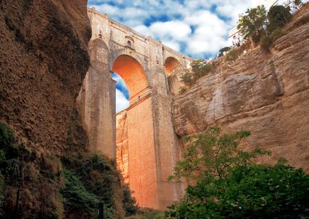 old bridge in town of Ronda in Andalusia, Spain Standard-Bild