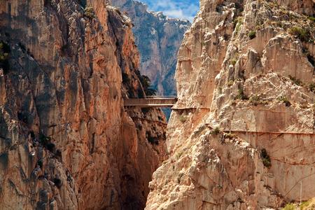 Royal Trail (El Caminito del Rey) in gorge Chorro, Malaga province, Spain Standard-Bild