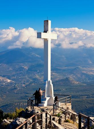 Cross at Santa Catalina Castle overlooking Jaen City, Andalusia, Spain