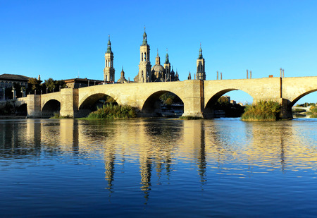 Cathedral and Ebro river in Zaragoza. Aragon, Spain