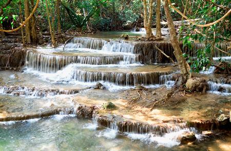Waterfall at Erawan National Park in Kanchanaburi ,Thailand Standard-Bild