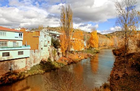 spanish homes: River Tajo at Trillo. Guadalajara, Spain Stock Photo
