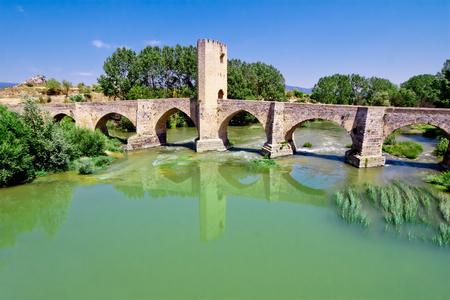 ebro: Roman-Medieval bridge of Frias on Ebro river. Burgos. Castilla and Leon. Spain