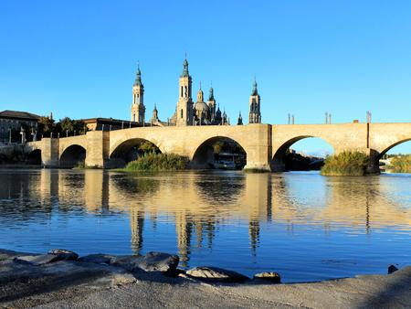 aragon: Cathedral and Ebro river in Zaragoza. Aragon, Spain