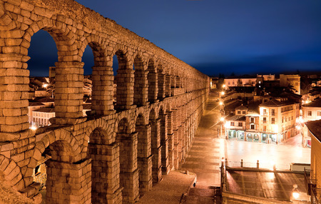 segovia: roman aqueduct in Segovia city, Spain