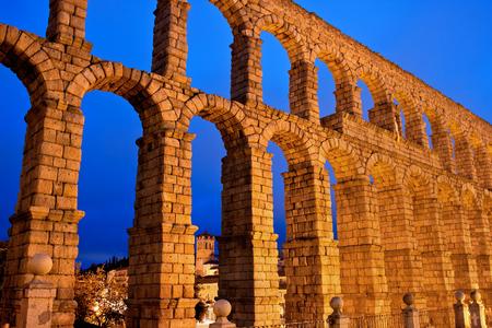 aqueduct: roman aqueduct in Segovia city, Spain
