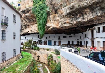 SETENIL DE LAS BODEGAS, SPAIN - NOVEMBER 22: View of historic center on September 07, 2014 in Setenil de las Bodegas, Cadiz, Spain, November 22, 2014. A popular plac among tourists.