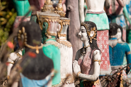 afterlife: PROVINCE CHIANG MAI, THAILAND - FEBRUARY 11: Sculptures of gods and mythical creatures in temple Nantharam in province Chiang Mai, Thailand, February 11, 2014. Afterlife Scene