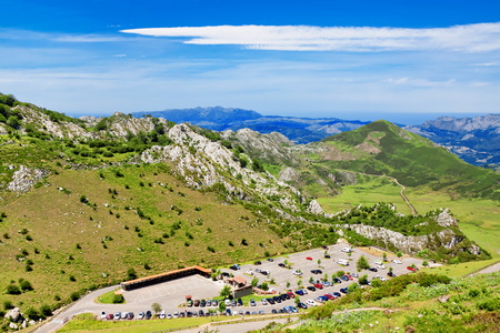 cantabrian: Parking next to the lakes Enol and Ercina. Cantabrian, Covadonga, Asturias, Spain Stock Photo
