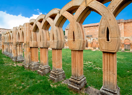 cloister: cloister of San Juan de Duero Monastery in Soria. Spain Stock Photo