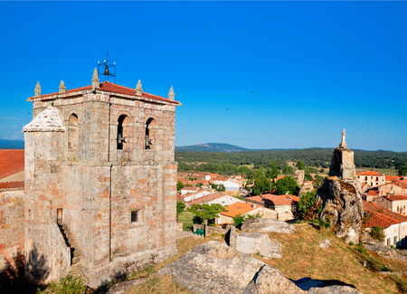 san pedro: Church of San Pedro and statue of Christ in Hacinas, Burgos, Castilla and Leon, Spain