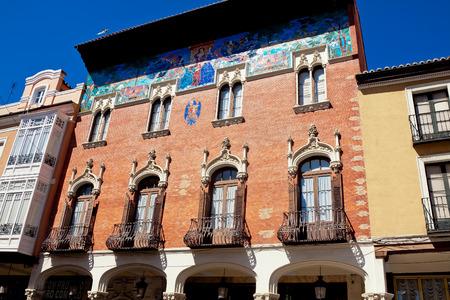 arroyo: PALENCIA, SPAIN - JUNE 27, 2015: College Villandrando: remarkable building on Calle mayor Street by Jerome Arroyo and Daniel Zuloaga