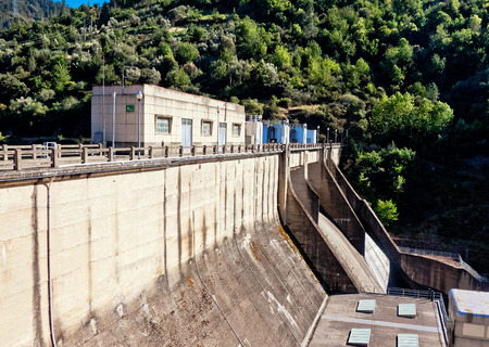 orense: dam, hydroelectric power station Montefurado on river Bibei, Orense, Galicia, Spain.