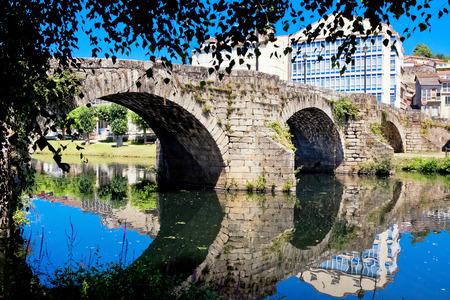 galicia: old Roman bridge in Monforte de Lemos, Galicia, Spain