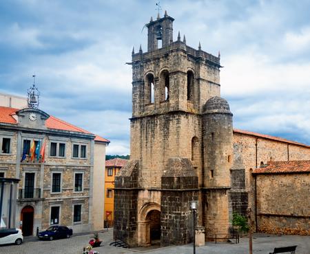 santas village: Collegiate church of Santa Maria la Mayor Chuch in Salas. Oviedo, Asturias, Spain.