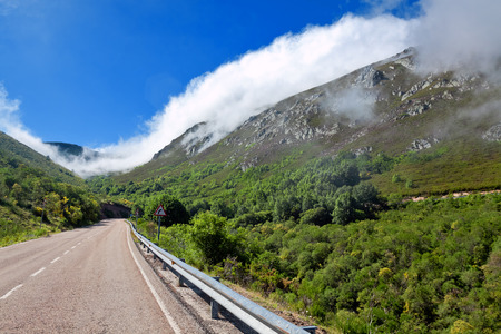 natural phenomena: katabatic wind in Cantabrian mountains on border of Asturias and Castile and Leon. Spain