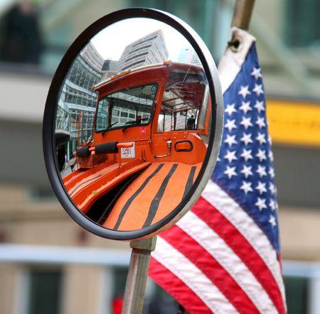 American Amphibious Vehicle in convex mirror photo