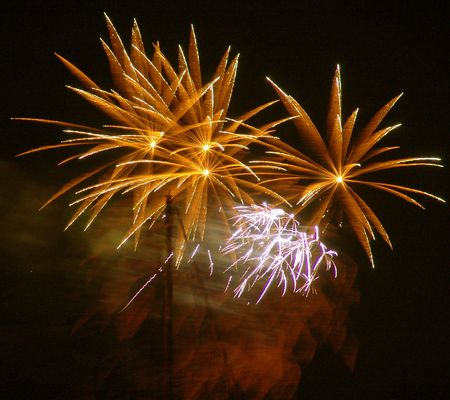 independance: Fire works in fiery yellow Stock Photo