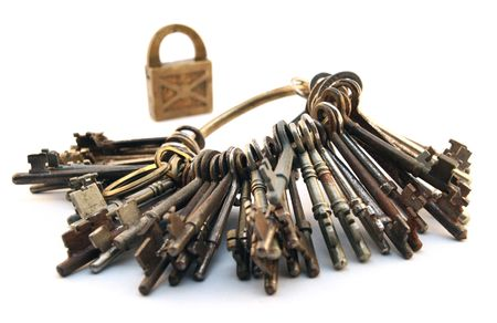 fulcrum: key and lock Stock Photo