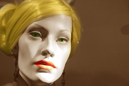 semblance: Mannequin with colors in hair eyes lips Stock Photo