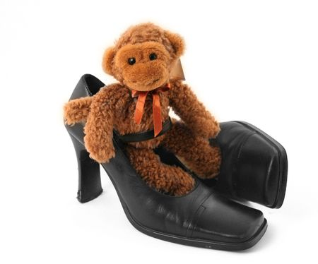 three color: Stock Photo: Monkey in shoe Stock Photo