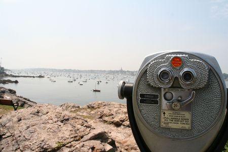 Pay per view binoculars Stock Photo