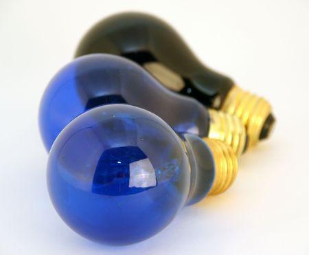 blue and black light bulbs - metaphor of ideas Banco de Imagens