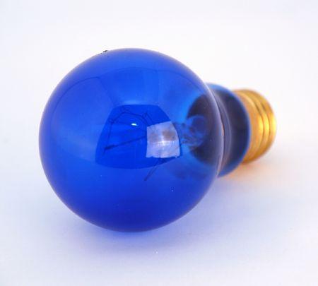 isolated blue light bulb