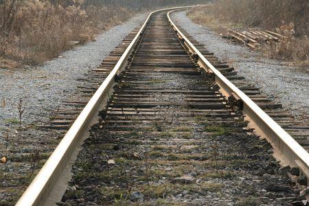 onward: las v�as de tren en adelante  Foto de archivo