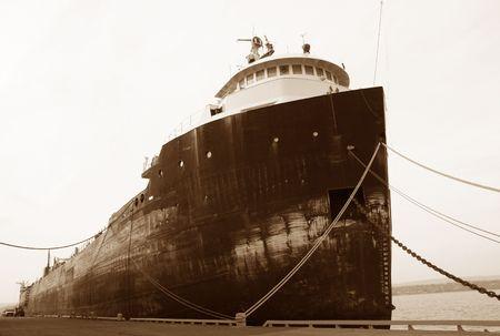 restraining: old ship (barge) Stock Photo
