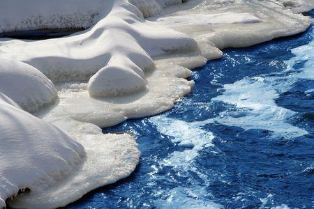 rushing water: snow scene with rushing water Stock Photo